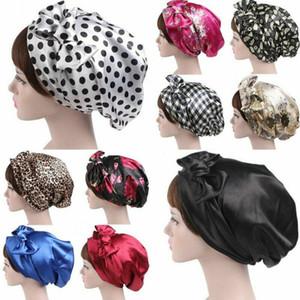 Donne Floral Satin Ploth Turban Hijab Sciarpa Capelli con cappuccio Capelli Satin Bow Fowscarf Sleeping Cap