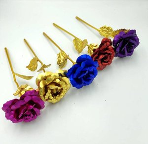 Valentine's Day Decorative Rose Christmas 24K Gold Leaf Rose Artificial Flowers Colorful Festive Gifts Valentine's Day Rose Party E120304