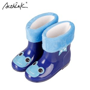 Acthink New Design Kids Dibujos animados Rainboots Baby Girls Antidkid Wellies con algodón Velvet Boys Otoño Invierno Botas de lluvia, S009