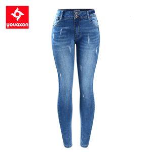 2052 Estilo elegante Youaxon `s básico Fading estiramiento flaco Ture Denim Jeans Mujer Pantalon Femme envío