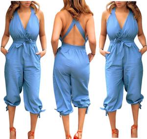 Yeni Seksi Capris Bayan Romper Moda Toprak Renk Gevşek Tulumlar Backless Seksi Bandaj Tasarımcısı Bayan Giyim