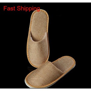 Comfortable Breathable Soft Disposable Slippers Home Guest Shoes Yellow Grey Hotel Spa Anti-slip Cotton Linen Dispos jllrdF yeah2010