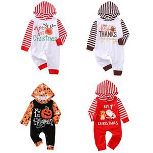 New Baby Baby Sumpsuits Mi 1ª Navidad Impresa onesies Infantil dibujos animados alces empalme a rayas mono niño mamelucos