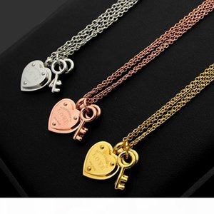 Titanium steel jewelry T letter love peach heart double key double-layer women's foreign trade heart-shaped Necklace Bracelet