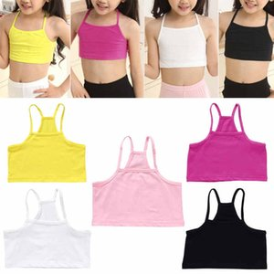 Girls Cotton Vest Teenage Bra Kids Candy Color Sports Breath Tank Tops Underwear Q1203