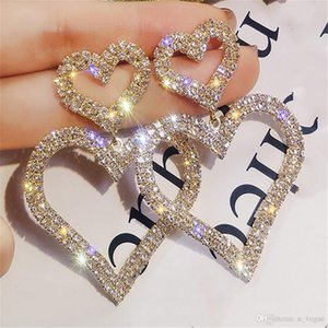 Special Price Fashion Exaggerated Crystal Never fade stud High Quality girls earings Double Heart charm Earrings Contracted Joker Long Women Drop Jewelry Gifts