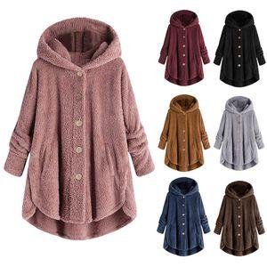 6 Colors Women's Coats Stylish Female Long Sleeve Jackets Plush Tops Hooded Loose Cardigan Wool Coat Winter Jacket Plus Size