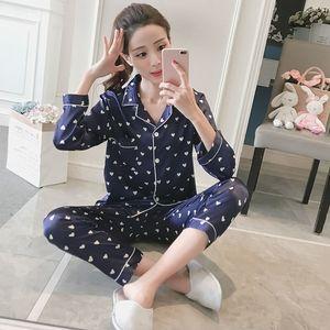 Atacado FOPLY Womens Confortável Pijama De Seda Pijama Imprimir Pijama Conjunto de Manga Longa Sleepwear Terno Mulheres Camisola Conjuntos Y200425