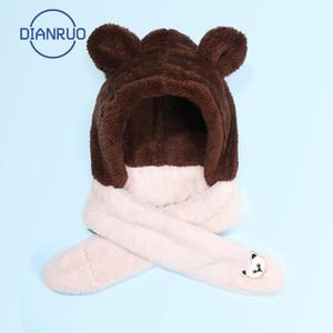 Linling Kids Winter Warm 3 en 1 Faux Fleece Capucha Sombrero Sombrero Guantes Conjunto Lindo oso Orejas Termal Earfflap Tap Cuello Calentador R656