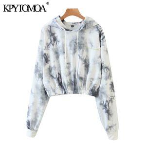 KPYTOMOA Women 2020 Fashion Tie-dye Print Cropped Hoodies Sweatshirts Vintage Long Sleeve Elastic Hem Female Pullovers Chic Tops LJ201120