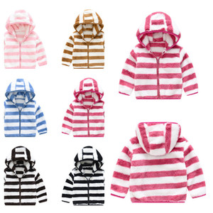 Kids Sport Clothes Outwear Tops Coat Autumn Winter Children Clothing Jackets Girls Striped Jacket Wool Sweater Baby Boy Hooded NEW G12701