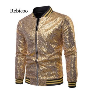 Sequins Gold Blazer For Men 2020 Slim Fit Mens Floral Print Striped Sleeve Coats 2XL British Style Prom Party Wedding Jackets