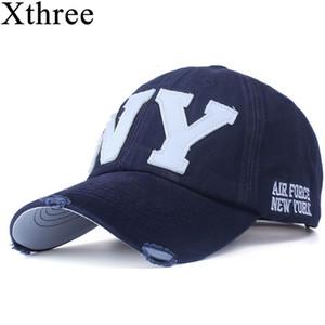 Xthree Unisex Moda algodón gorra de béisbol Snapback Snapback Sombrero para hombres Mujeres Sun Sombrero Hueso Gorras NY Bordado Gorra de primavera al por mayor Q1206