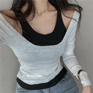 Autumn Spring Women O neck Long Sleeve T shirts Tee Girls Slim Patchwork Fashion Off shoulder Tees T shirts Tops Female
