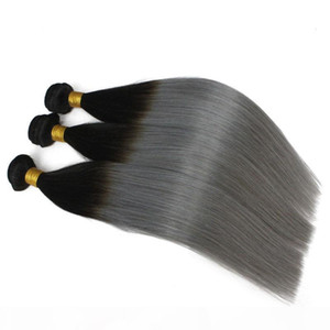 3pcs lot Brazilian Ombre Hair Weft Two Tone Color 1B 613 1b Gray Blonde Peruvian Straight Human Hair Weaves Sfot Cheap Hair Bundles