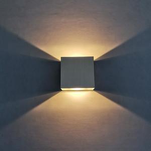 Silver Square Wand Light 6W COB Luminaire Indoor Lamp Corridorup-down AC85-260V Kitchen Living Room Warm Brightness