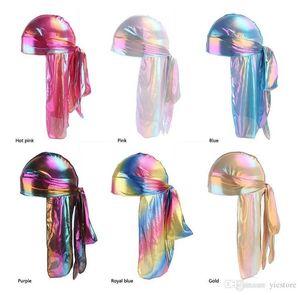 Fashion Men's Sparkly Silk Durag Bandana Headwear colorful Men du rag Wigs Turban Doo Rag Headband Pirate Hat Hair