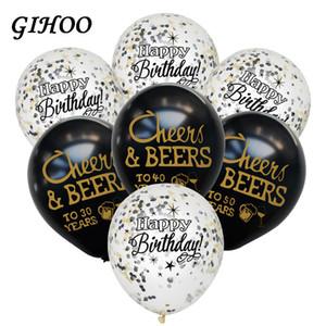 GIHOO 10 unids Cheersbeers 21 30 40 50 años Aniversario de boda 10inch Latex Globos Cumpleaños adultos Party Decorations Supplies Y0107