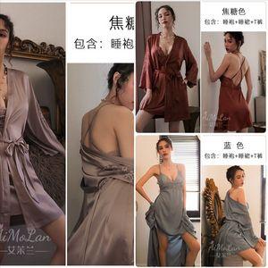 wmr4 jovem sexy roxo kimono vestido vestido set senhora v-pescoço invertido noite de seda vasso de flores doce doce flee bathrobe rouner roupão de verão homem