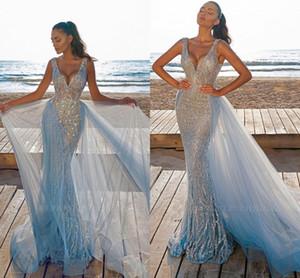 Magnifique comme ciel bleu sirène soir robes de bal de bal 2021 Nouveaux veaux veaux de luxe Perles de luxe paillettes de soirée de soirée robes de tulle détachable tulle