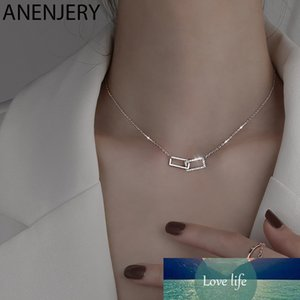 Simple Interlocking Double Ring Paper Clip Pendant Necklace for Women Clavicle Necklace Wedding Jewelry S-N698