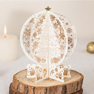 """3D Up Christmas Greeting Card Laser Cut """"Merry Christmas"""" Deer Santa 3d Red Gold Cards With Envelope 10 pieces per lot"""