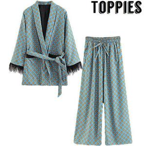 Toppies 2020 Mavi Baskılı Kimono Ceket Tüy Kollu Geniş Bacak Gevşek Cuasal Pantolon Kadın Vintage Giyim Q1119