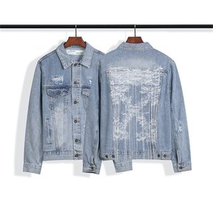 New men's wear ow fashion embroidery suspender washed and worn denim jacket in autumn and winter 2020