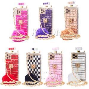 Mens Designer Inverno Estilo Fur bola Frasco de perfume Caixa do telefone do diamante para iphone 11 xr xsmax 8plus Lanyard Rhinestone 11Pro MAX tampa do telefone