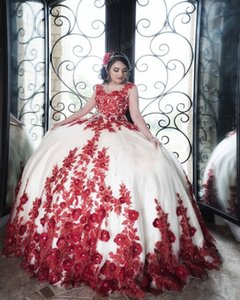 2021 Red And Ivory Sweet 16 Dresses Ball Gowns Prom Quinceanera Dress Floral Lace Beaded Crystal Hand Made Flowers Sweet 15 Dress Long