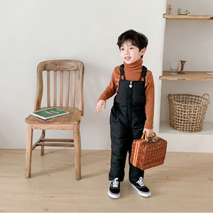 Winter children's down cotton trousers thickened children's clothing bib trousers cotton trousers boys and girls baby onesies YHM429