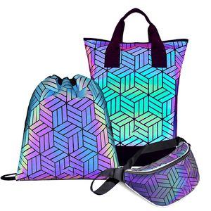 TangDe Geometric Bags Set Fluorescent String Shoe Bag Holographic Ergonomic Large Capacity Backpack Q1113