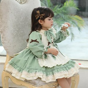 1 2 3 4 5 6 Years Girls Dress For Christmas 2020 Kids Girls Long Sleeve Princess Vintage Green Lolita Apron Dress Winter Fall