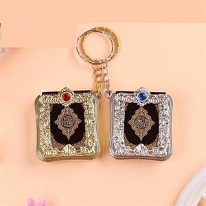 20 pcs lot Gold Silver Arabic real Quran Keychain Eid Mubarak mascot Muslim Party Event Memorial gift for Guests 201006