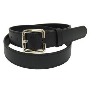 Hot New Design Belts Fashion Sexy Faux Leather Belt Punk Square Metal Buckle Alloy Hoop Jean Belt For Women Black Thin Waistband wmtSQy