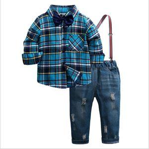 الفتيان مجموعة ملابس الخريف شيش بدلة الاطفال طويلة الأكمام القوس التعادل منقوشة قميص + وزرة 2 قطع الأطفال رجل نبيل فتى ملابس مجموعة