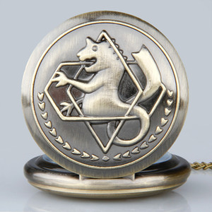 Full Metal Animal Alchemist Pocket Watch Bronze Laser Engraved Quartz Necklace Pendant Watches with Fob Chain for Men Women Wholesale Reloj
