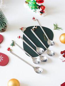 Set di cucchiaio in acciaio inox di natale Set di caffè dorato Cucchiaio da caffè lungo Punnello Capodanno Capodanno 2021 Tableware Ornamenti Decorazioni natalizie HH9-3684