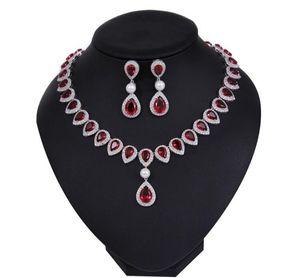Luxury Red Zircon Necklace Dropping Earrings Wedding Jewelry Set Blue Green Yellow Pendant Earrings Freshwater Pearls Prom Jewelry Supplier