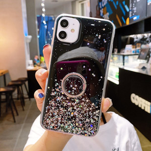Shiny Epoxy With Finger Ring phone case for iphone 12 pro max mini 11 pro max xr x xs max 7 8 6 6s plus case Soft tpu back cover