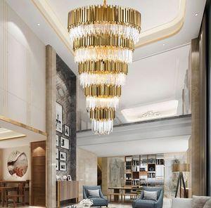 Grands gros lustres en cristal lumière LED lustres cristal escalier suspendu lumière domestique home restaurant intérieur luminaire