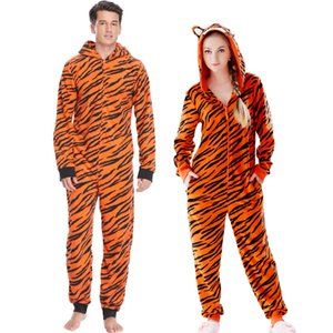 Plus Size Fleece Tiger Pyjamas Women Stitch Animal Costumes Jumpsuits Couple Coverall Pajamas Onesie for Adult Kingurumi