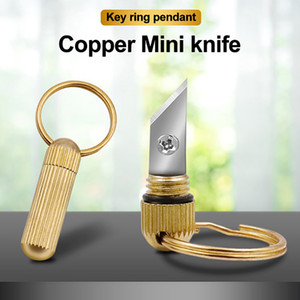 Outdoor Brass Copper + Stainless Steel Blade Portable Multi-function Mini Capsule Knife with Keychain for Open Box Cutting Tools