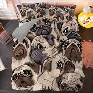 الكرتون الصلصال حاف الغطاء مجموعة لطيف الكلب 3d beding 2/3 قطع واحدة التوأم الملكة الملك حجم السرير قطرة الشحن الفراش الفاخرة Q1215