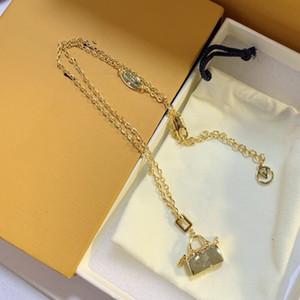 Women Designer Brand L Letter V Classic Bag Shape Design Necklace Party Wedding Gift With Box