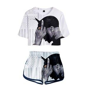 Girl Tshirt 2pac 3D Summer Two Pieces sets Women Fashion Clothes Famous singer 2pac Print Two Piece Set+Short Pants Sports suit Y1123