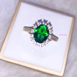 Mosangshishou Zircon Inlaid with Emerald and Rose Gold Plated Wedding Jewelry