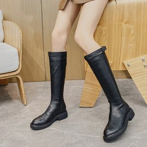 2020 new Knights' women's high soft bottomed thin British style black handsome leather boots fashion Q1207