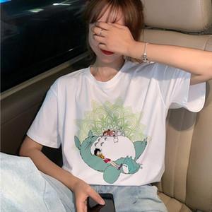 جديد totoro تي شيرت المرأة ستوديو غيبلي kawaii 90s الجرافيك تي شيرت المتناثرة miyazaki hayao ullzang شيرت kawaii top tees أنثى