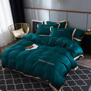 Luxury Bedding Set 4pcs Flat Bed Sheet Brief Duvet Cover Sets King Comfortable Quilt Covers Single Queen Size Bedclothes Linens Q1127